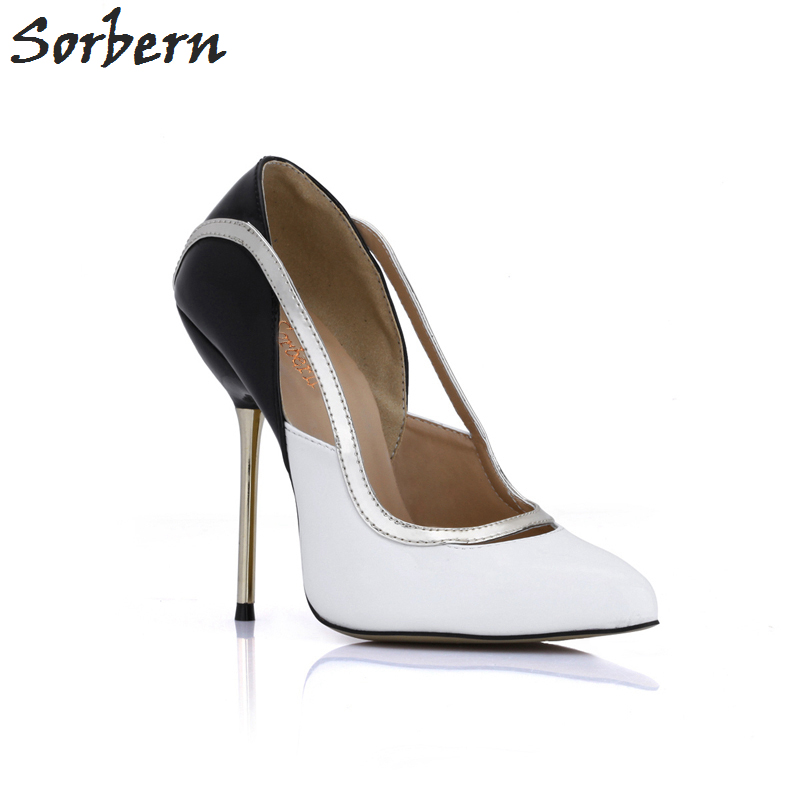 Sorbern Black And White Mix Cut Out Gold Metal Heels Ladies Pumps Large Sizes Womens Shoes Diy Red Sole Shoes Women High Heels michael jackson black and white cover gold black l