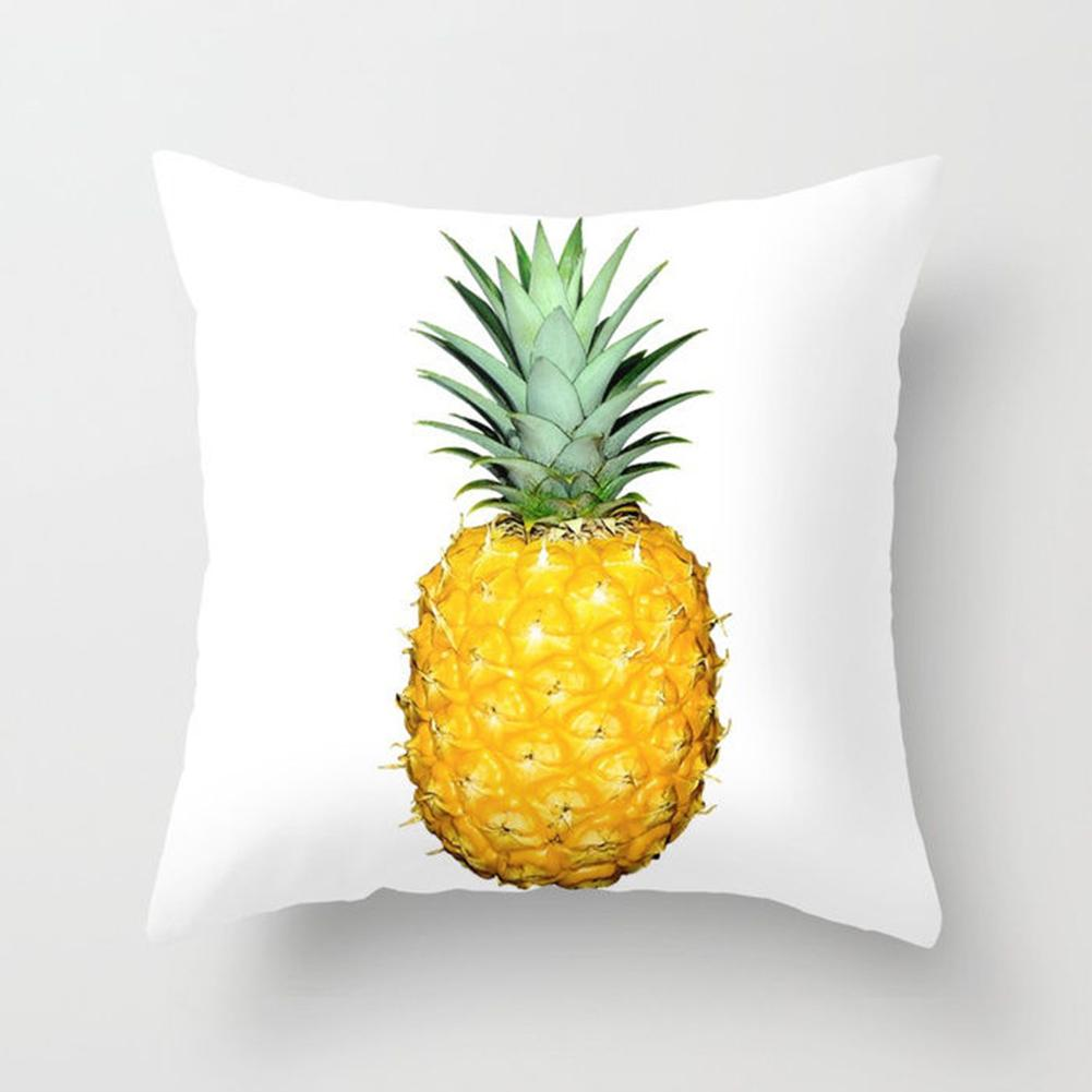 New 45*45cm Home Pineapple Leaf Yellow Pillow Case Waist Throw Soft Print Polyester Pillow Cover