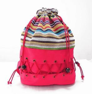 Image 3 - オリジナルエスニックキャンバス袋パック女性の綿のプリントカラフルなバックパック十代わら文字列フォローアウトストリップバッグ
