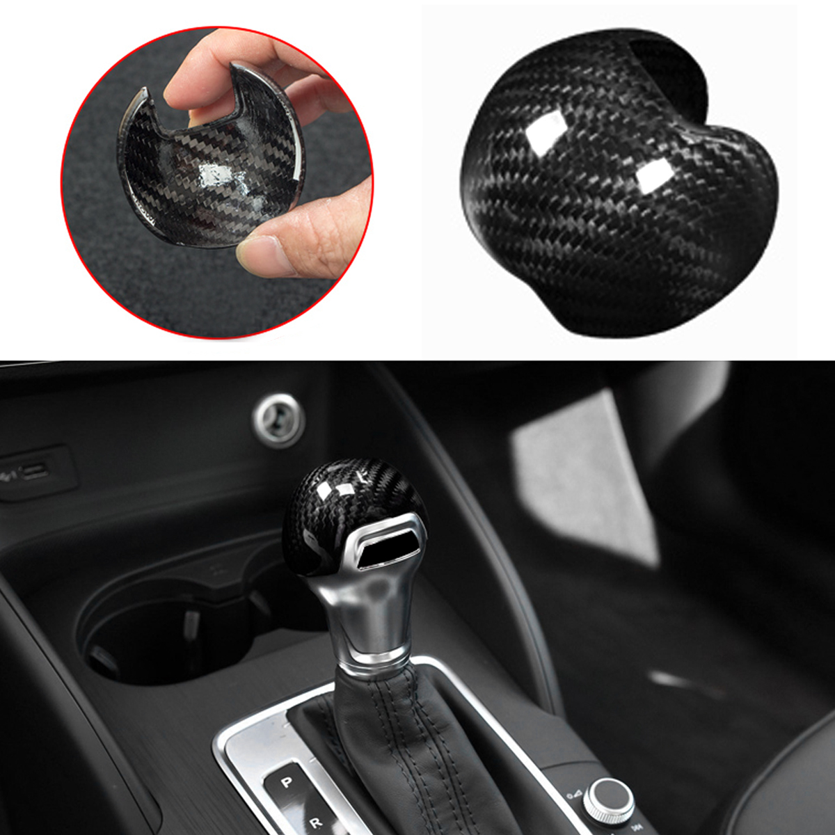 цена на New Car Carbon Fiber Gear Shifter Shift Knob Head Lever Stick Cap Trim Cover for AUDI A3 S3 8V 2013-2016 AT Automatic Trans Only