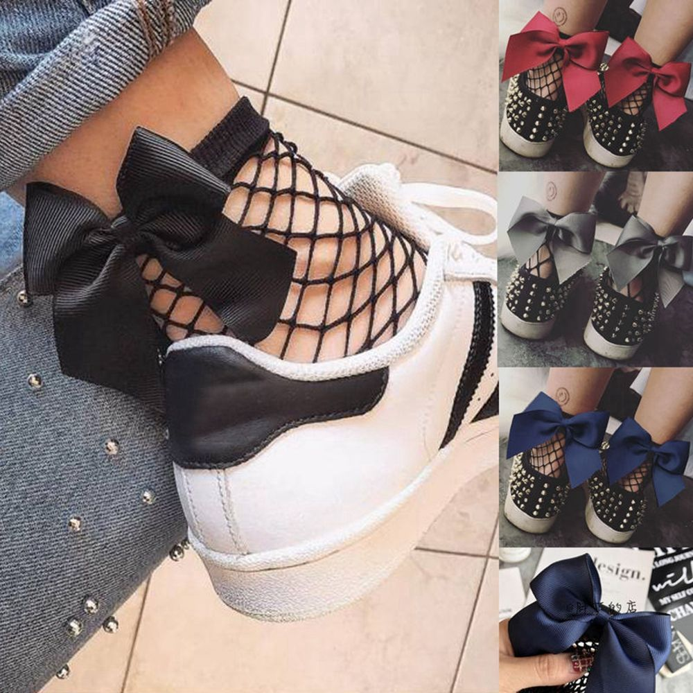 New 2018 Fashion Women Girls Ruffle Large Fishnet Ankle High   Socks   Bow Tie Mesh Lace Fish Net Short   Socks   good quality