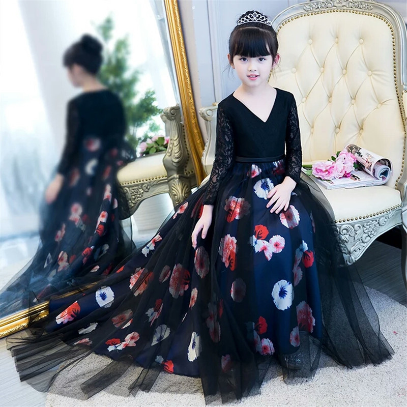 2018New Luxury Children Girls Printing Flower Holiday Evening Party Long Tail Ball Gown Dress Model Show Host Tutu Costume Dress