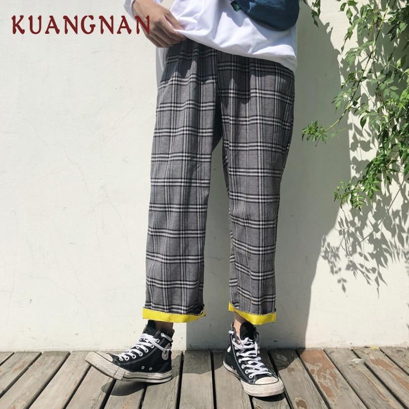 KUANGNAN Men Japanese Streetwear Harem-Pants Jogger Plaid Casual XXL