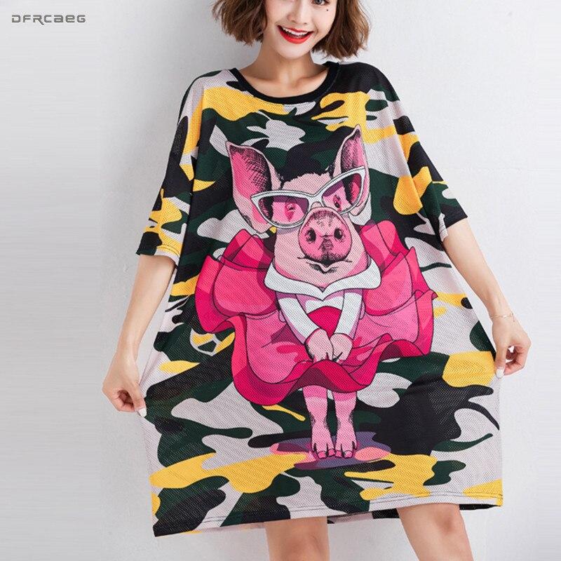 Streetwear Camouflage Print T Shirt Dresses Women Fashion 2019 Summer Pig Cartoon Casual Big Size Harajuku Shirt Dress Femme