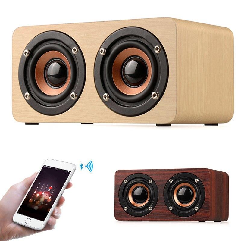 Vente chaude En Bois Sans Fil Bluetooth Haut-Parleur Portable HiFi Deux Haut-parleurs Choc Basse caixa de som Barre De Son pour Mobile Téléphones