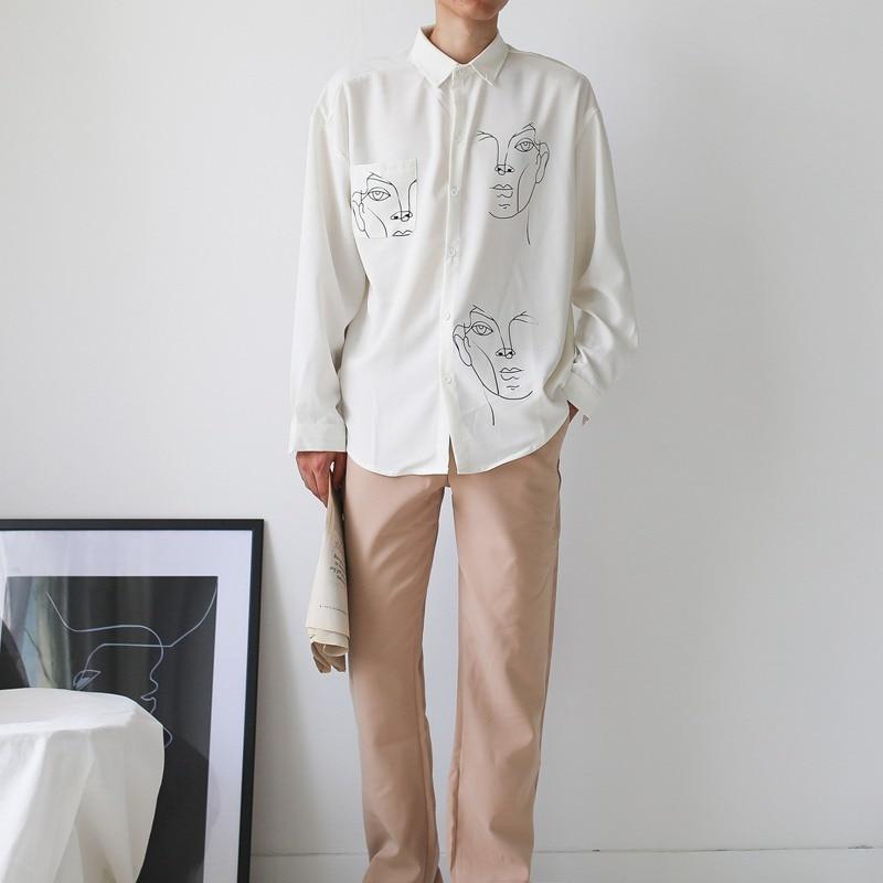 Fashion Women Men Blouse Shirt New Face For Tops Couple Shirts Women Printed Clothing