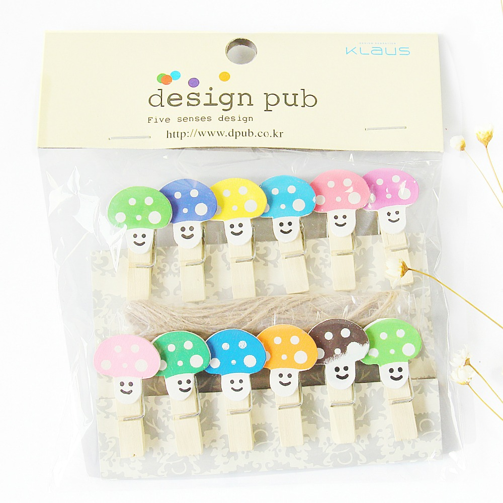 12 Pcs/lot Colorful Cartoon Mushroom Wooden Clip Photo Paper Clothespin Craft Clips Party Decoration Clip With Hemp Rope