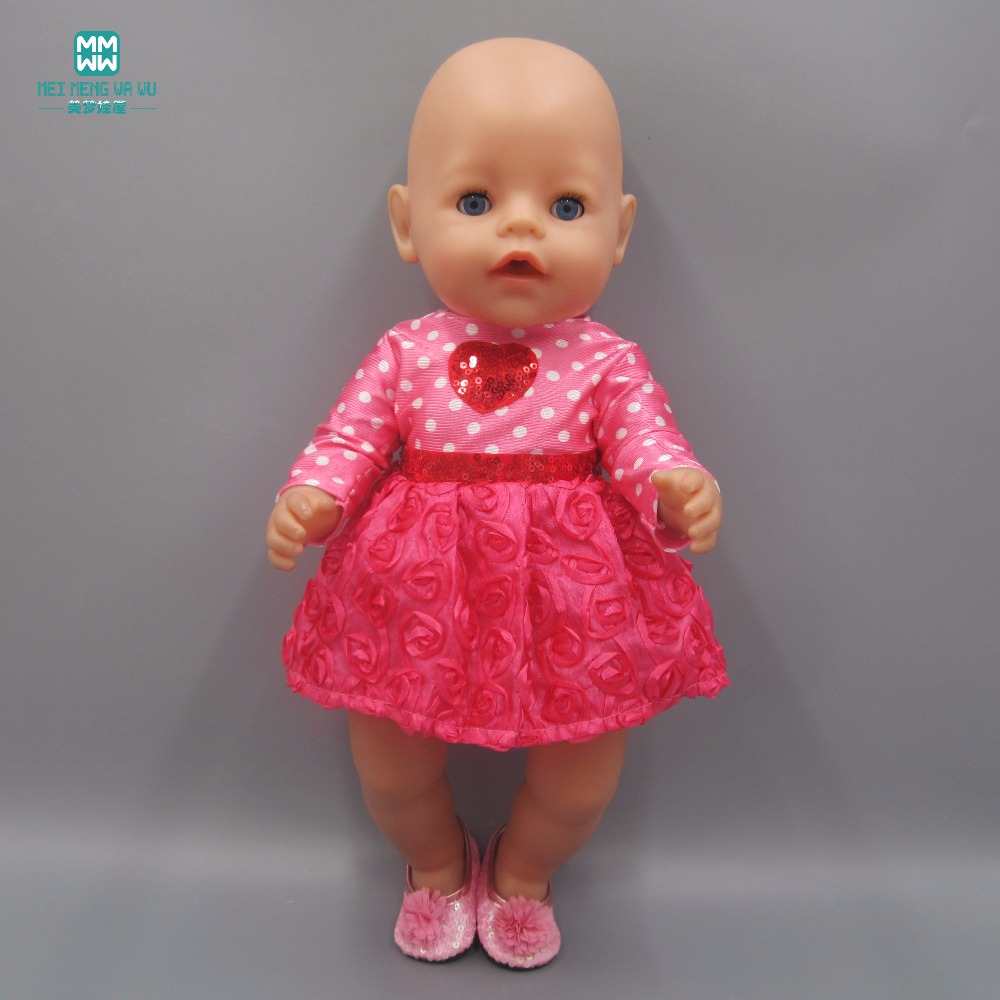 Clothes for dolls fits 43-45cm girl doll and Baby Born zapf doll girl dress Rose flower dress