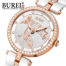 BUREI 2016 Rose Gold Women Fashion watch Female Ceramic Band Waterproof Quartz watch Luxury Rhinestone Lady