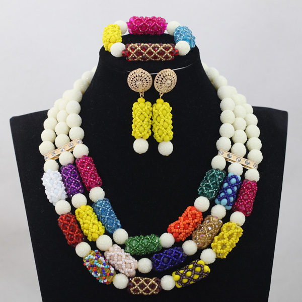 White Coral Mix Crystal Beads Jewelry sets Nigerian African Wedding Bridal/Women Beads Necklace Jewelry Set Free Shipping CJ823 стоимость
