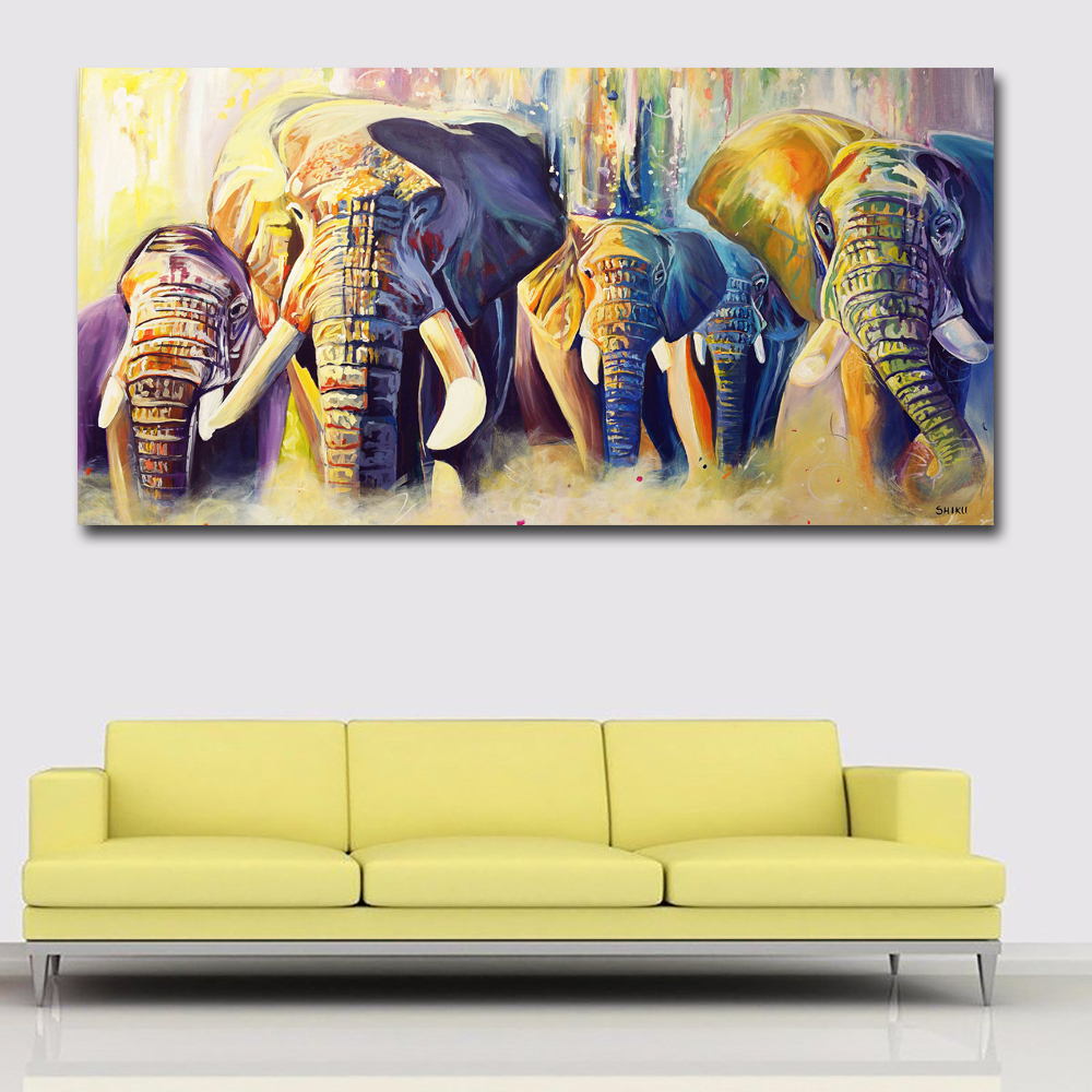 Colorful Abstract Art Elephants Competition Paintings Prints Posters ...