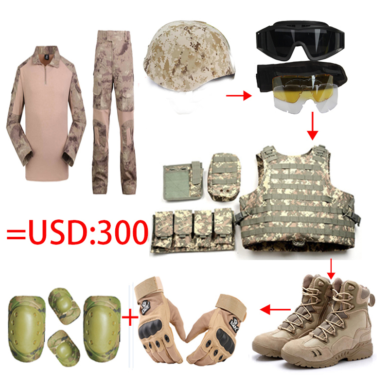 Workplace Safety Supplies 2018 Full Set Tactical Helmet/glasses/vest/camo Frog Tops Pants/us Seal Army Gloves/military Desert Combat /4pcs Knee Elbow Pads Quell Summer Thirst