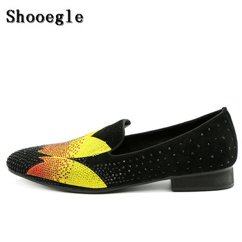 SHOOEGLE New Men Rhinestone Wedding Shoes Diamond Suede Fashion Men Casual Flat Shoes Crystal Party Dress Shoes Man Size 39-47