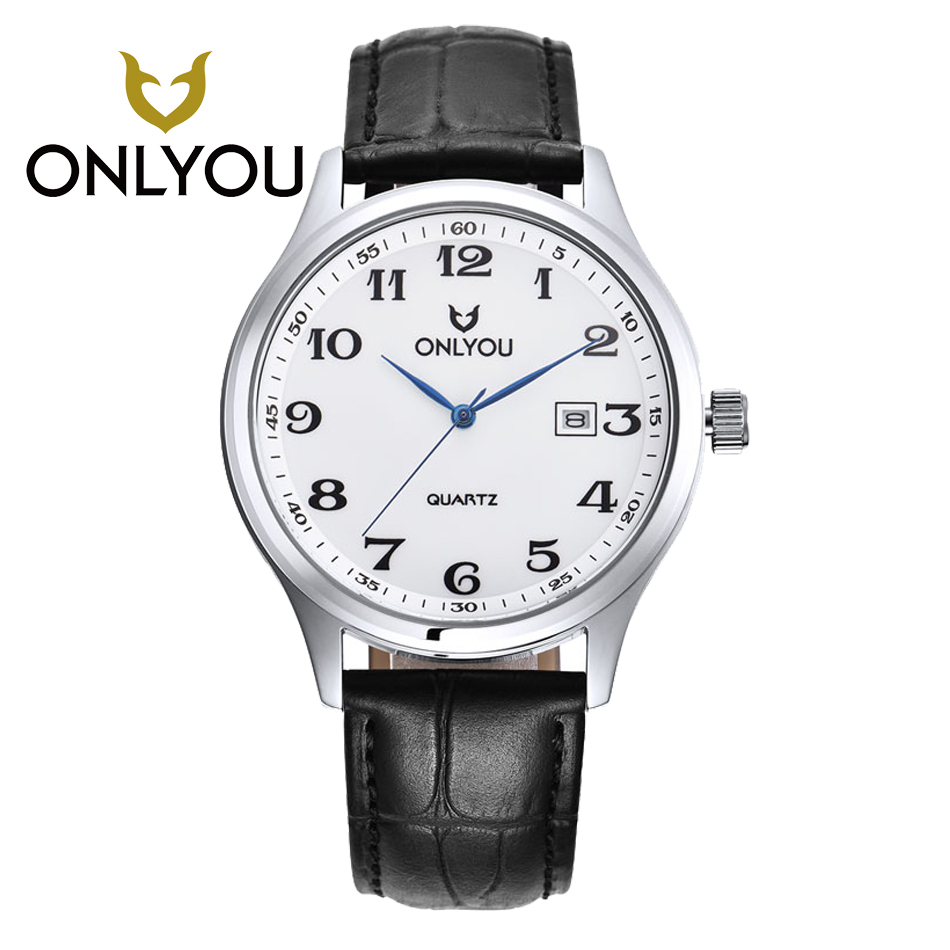 ONLYOU Men Math Watch for Women Fashion Casual Black Coffee Leather Watchband Casual Waterproof Quartz Wristwatch Men Clock купить недорого в Москве