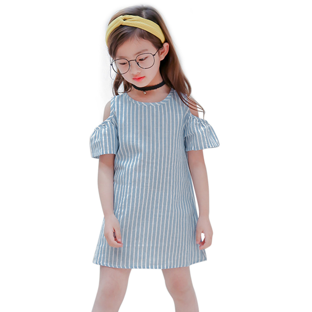 HTB1zCRzXMaH3KVjSZFjq6AFWpXaN Summer Girls Tassel Flying Sleeve Dresses Stripe Cute Kids Party for girls Princess Dress Tops Clothes
