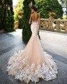 Loverxu Romântico Do Pescoço Da Colher Backless Princesa Vestido de Casamento Da Sereia 2017 Lindo Apliques Robe De Mariage vestido de Noiva Plus Size