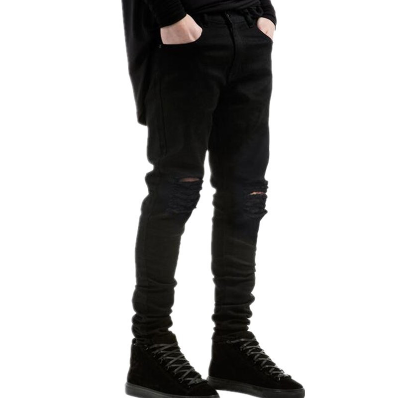 fb79cc27fe2 Hi Street Mens Fas Ripped Jeans Men Pants Brand Designer Distressed Denim  Joggers Man Destroyed Jean Trousers Plus Size for mal-in Jeans from Men s  Clothing ...