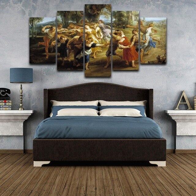 Muur Canvas Gedrukt Artistieke Olieverf Woonkamer Interieur 5 Stuks ...