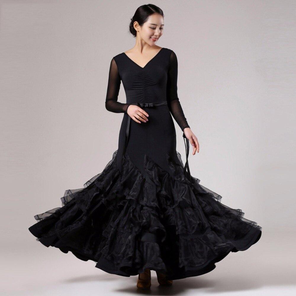 2018 Ladies Women Ballroom Dance Dress Black Red Ice Silk Stage Salsa Standard Jazz Waltz Tango Ballroom Dance Costumes