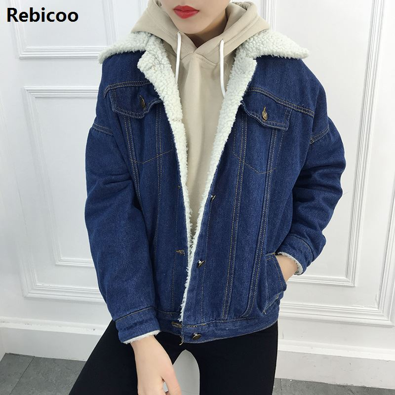 Fashion jeans Denim winter   Jackets   Women Loose Warm Female Parka Outerwear Casual autumn fur   basic   women coat   Jackets   2018