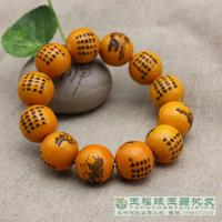 Ox bone pearl beads carved twelve zodiac Elastic Bracelet