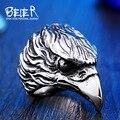 Beier nova loja águia biker anel aço inoxidável 316l anel punk anel animal moda jóias br8-436