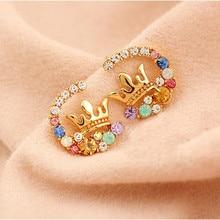 ФОТО free shipping 2014 new delicate bright colorful rhinestone crown cc stud earrings