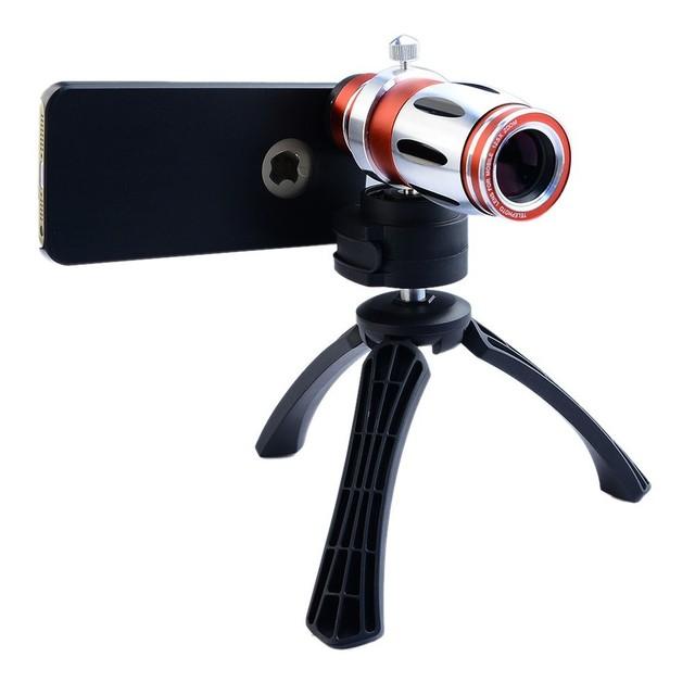 12.5x zoom lentes teleobjetivo lente del telescopio para el iphone 6 6 s 7 además de lentes de cámara del teléfono para samsung galaxy s7 s6 edge plus casos