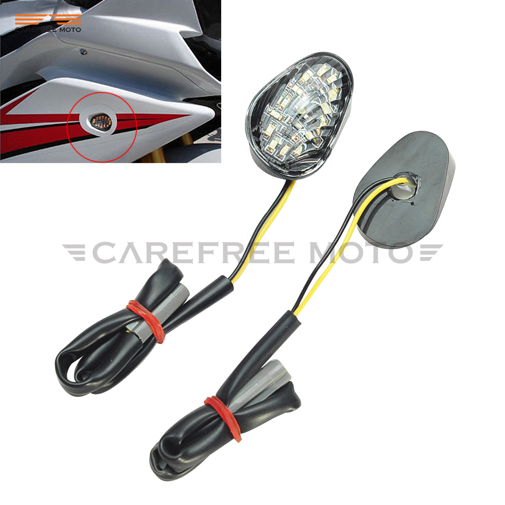 Clear Motorcycle LED Signals Light Flush Mount Case for Yamaha YZF R1 YZFR1 2002-2012
