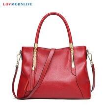 Famous Designer Red Womens Summer Bags Ladies Handbags Genuine Leather Fashion Big Female Messenger Shoulder Tassel 2019