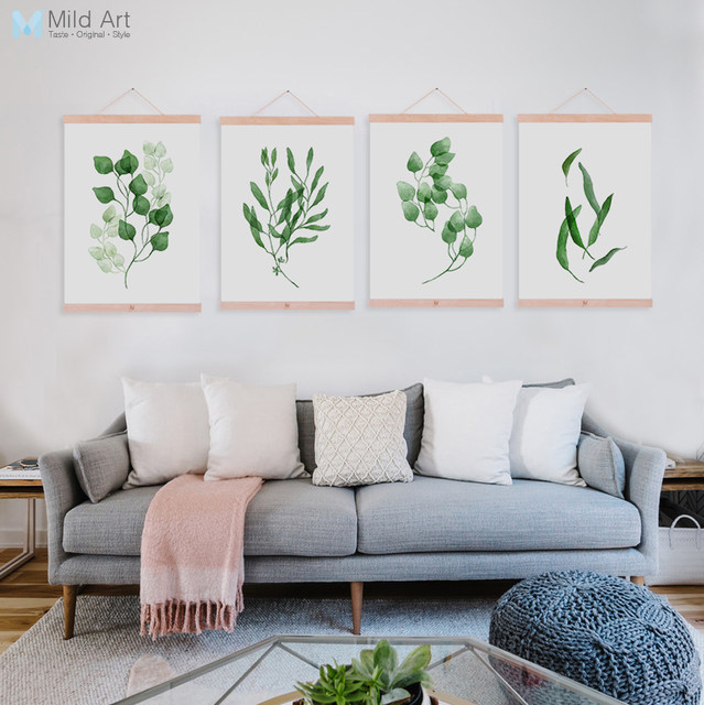 Modern Watercolor Green Leaf Flora Cottage Framed Canvas Paintings Modern  Nordic Home Decor Wall Art Print Picture Poster Scroll