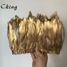 Cking Goose Feather Trims 10 Yards Golden Geese Feather 15-20cm Fringes Ribbons for Dress Skirt Cloth Belt decorative Clothing
