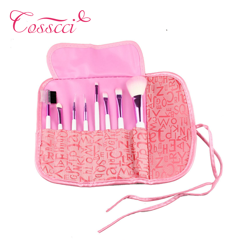 COSSCCI 8 Pcs Pro Makeup Brushes Set Eyeshadow Cosmetic Brush Kit + Pink Case Beauty Pincel Maquiagem Pink BF16P-8P