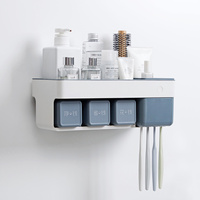 Punch free wall hanging toothbrush holder mouthwash cup wash set suction wall type cosmetics toothbrush rack