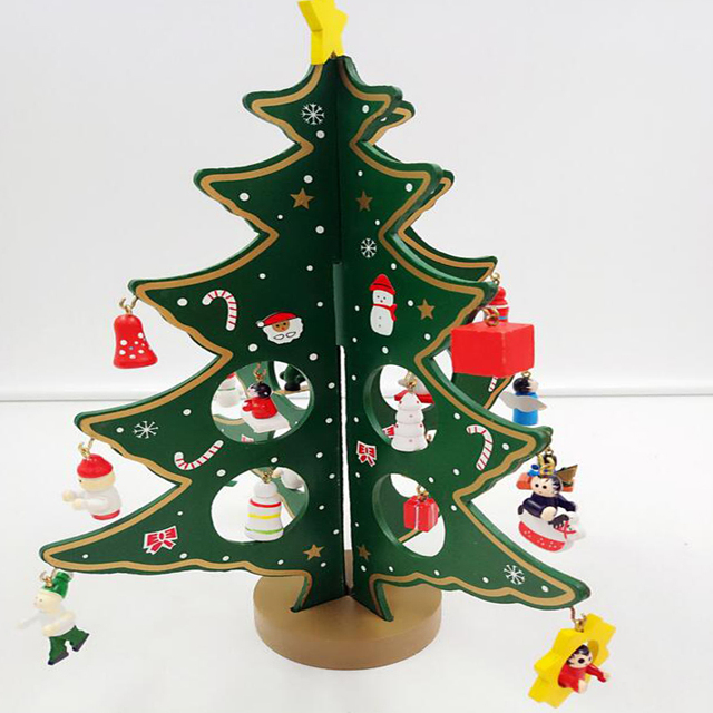 diy christmas wooden tree decorations for home 2017 navidad new year gift wooden artificial christmas tree