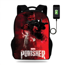 Usb Charge school bags large The Punisher Printing backpack for teenagers high school backpack for boys student casual Mens bag цена