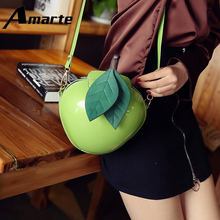 Amarte Women Apple Shaped Bag Cute Funny Evening Party Wedding Clutch Purses Chain Shoulder for Birthday Gift