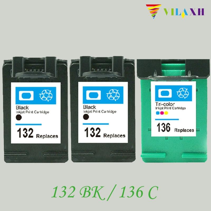 vilaxh 132 136 Αντικατάσταση συμβατής μελάνης για HP 132 136 για Photosmart 2573 C3183 D5163 PSC 1513 Εκτυπωτής Deskjet 5443