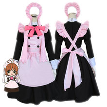 Anime Card Captor Sakura 20th Anniversary Tomoyo Daidouji/Kinomoto Sakura Cosplay Costume Coffee Shop Maid Dresses New(China)