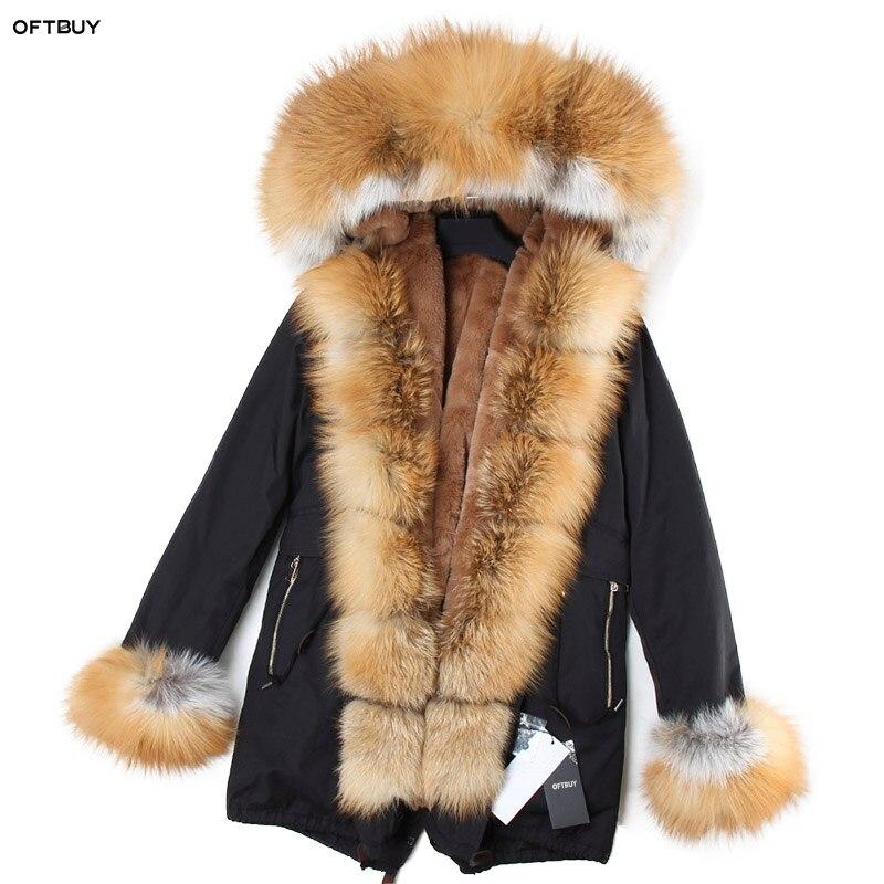 OFTBUY 2019 Real Fur Coat Winter Jacket Women Coat Real Fox Fur Collar Loose Long Parka Streetwear Outerwear New Korean Fashion