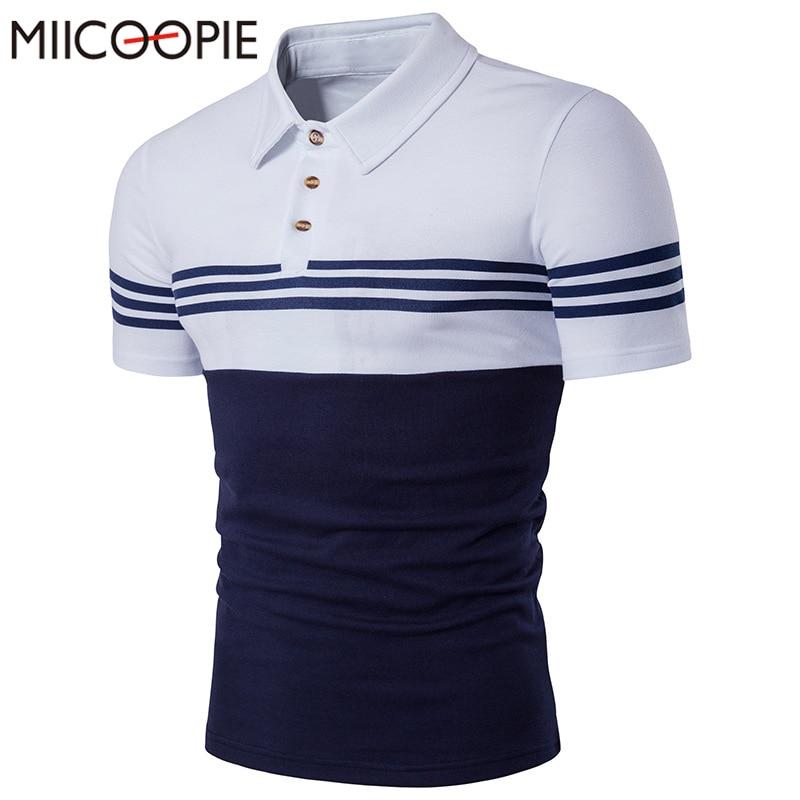 19c20fa6c7 Novo verão de algodão dos homens marcas camisa polo tarja de manga curta  polo dos homens de negócios camisa slim fit polo homme camisola ocasional  homens