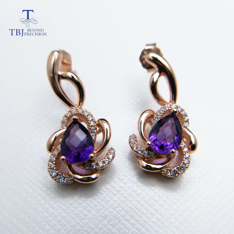 все цены на TBJ,Fabulous 925 sliver earring with natural african amethyst checkerboard cut gemstone earring for women romantic rose color онлайн