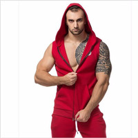 Men Cotton Hoodie Sweatshirts Fitness Clothing Gym Bodybuilding Tank Top Men Sleeveless Sport Tees Shirt Casual