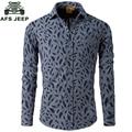 AFS JEEP Brand Clothing Cotton Leaf Print Long Sleeve Spring Shirt Fashion Print Quality Casual Shirts 76