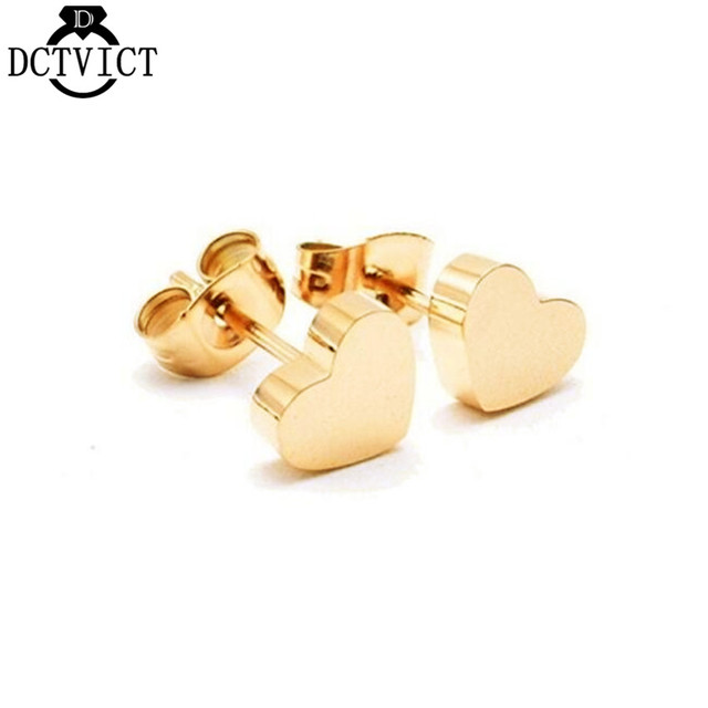 b83d8184cd7c4d DCTVICT 10Pairs Wholesale Rose Gold Stud Earrings Minimalist Geometric Jewelry  Tiny Heart Earrings Women Engagement Gift