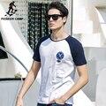 Pioneer camp 100% algodão dos homens t-shirt de algodão de bambu cabo mangas aptidão t-shirt dos homens clothing marca camiseta masculina 677014