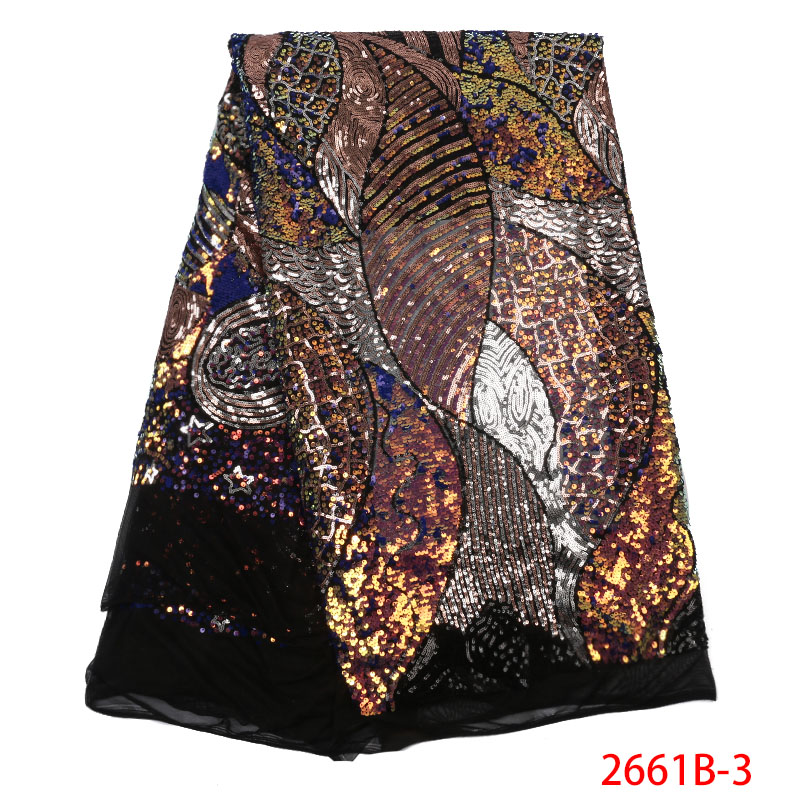 High Quality Nigerian Laces Fabrics African Tulle Lace Fabric French Net Lace with Sequins for Party Dresses KS2661B-3
