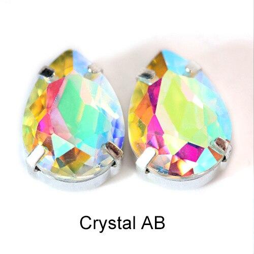 5 размеров красочные стеклянные хрустальные серебряные коготь пришивные стразы с коготь капли воды красные Пришивные коготь стразы для одежды B0403 - Цвет: Crystal AB