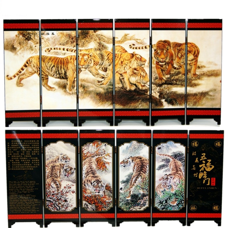 Office Table MINI Folding Screens 6 Joined Panels Decorative Painting Wood Byobu Five Blessings Arriving at The Home Tigers
