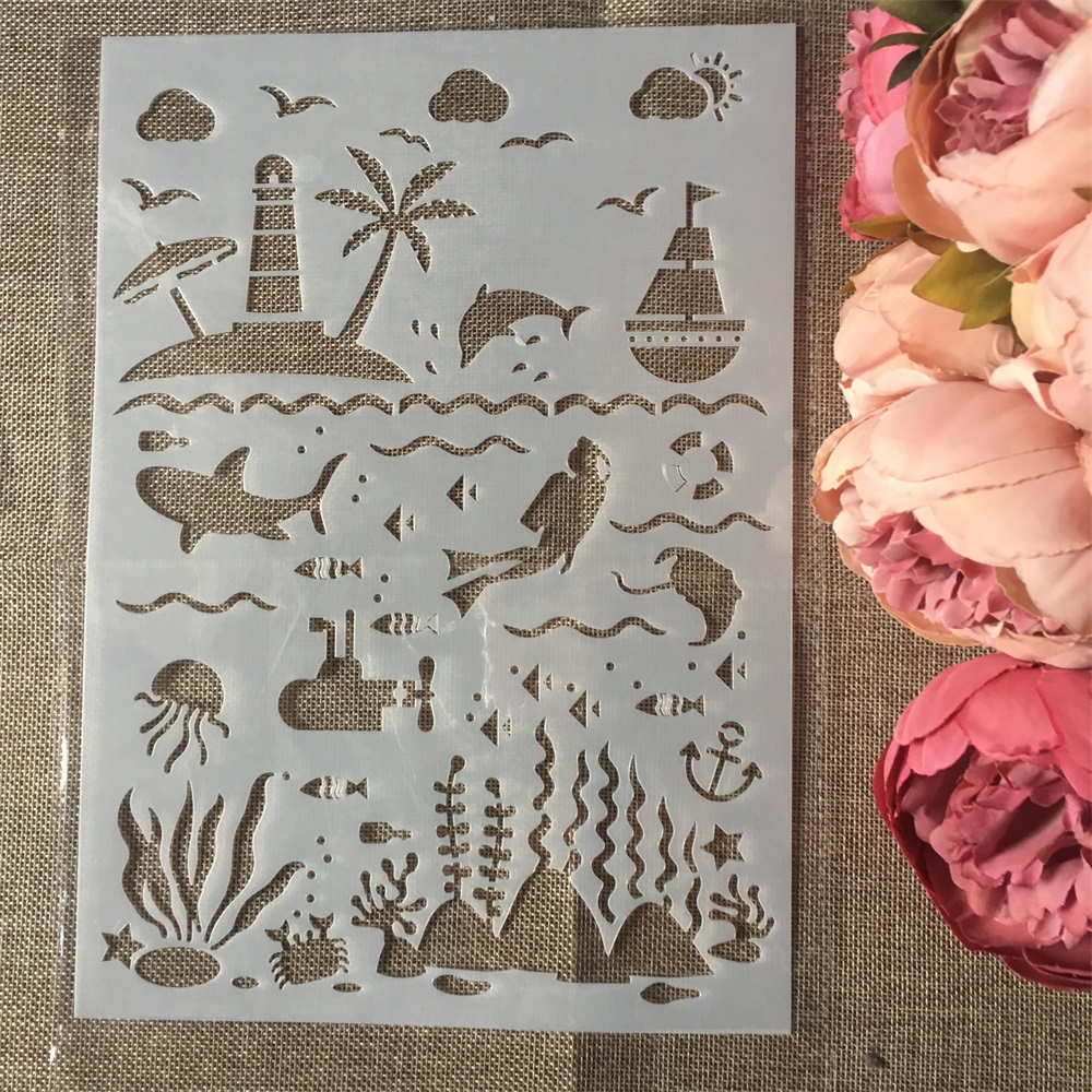 1Pcs A4 Sea Ocean World DIY Layering Stencils Wall Painting Scrapbook Coloring Embossing Album Decorative Card Template